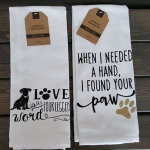 NWT Pair of white kitchen towels dog themed
